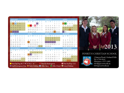 Penrith Christian School - Magnet Calendars